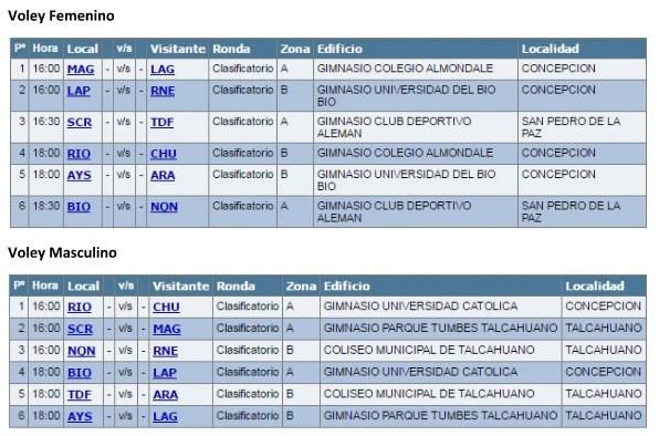 Horarios | Juegos de la Araucanía/Oficial