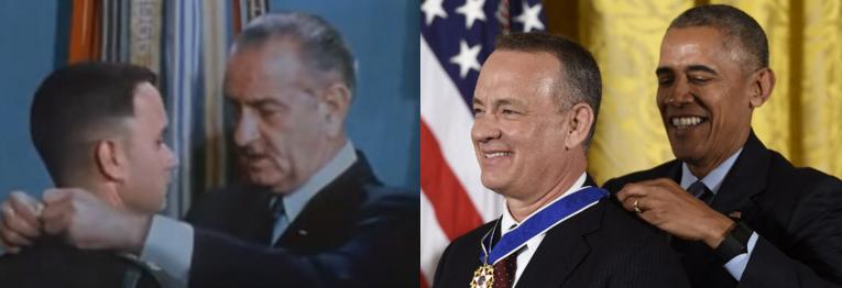 Escena de Forrest Gump (izquierda) y condecoración a Tom Hanks (derecha)