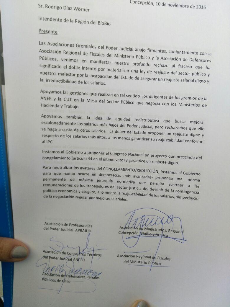 Carta de funcionarios judiciales