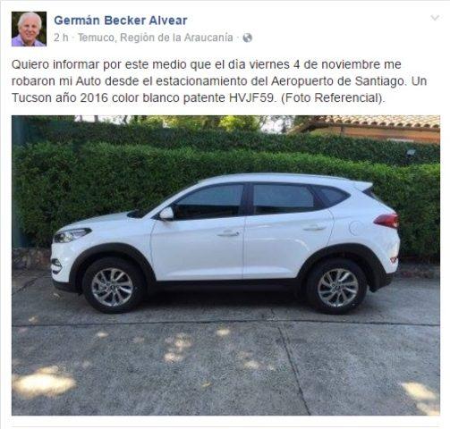 Diputado Germán Becker avisa por Facebook el robo de su automóvil