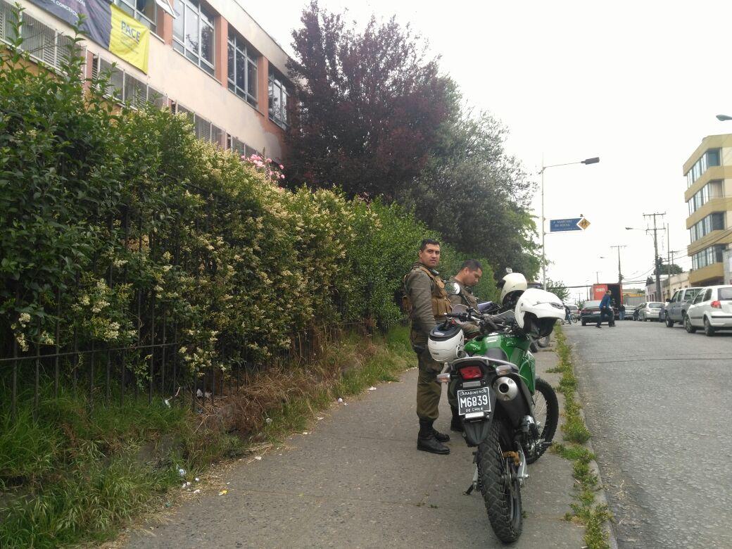 Carabineros en liceo de Concepción tras incidente