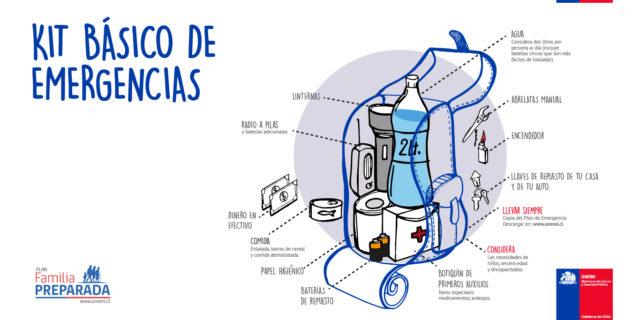 Afiche de la Onemi que muestra los insumos básicos que debe tener un kit de mergencia, como agua, dinero en efectivo botiquín y radio a pilas, entre otros.