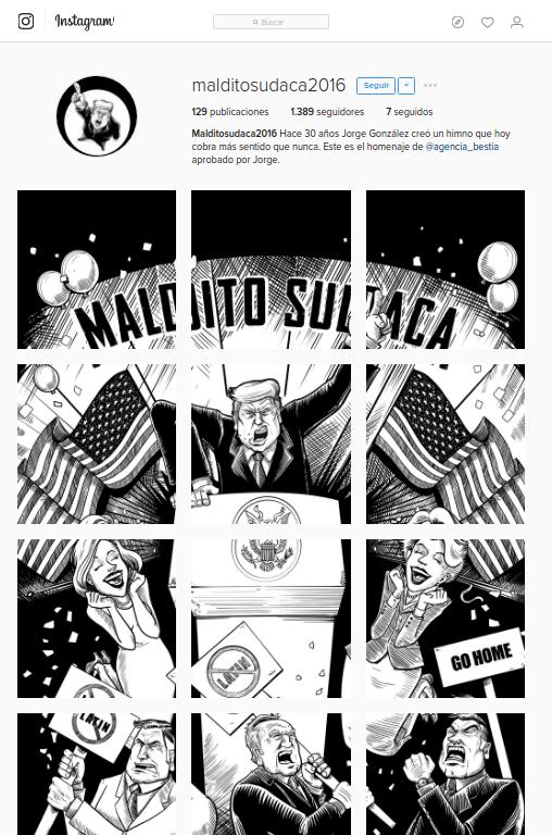 """Ilustraciones recrean clásico """"Maldito Sudaca"""" con Donald Trump como protagonista"""