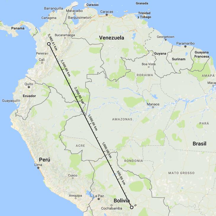 Distancia entre Santa Cruz de La Sierra y Medellín | Google Maps