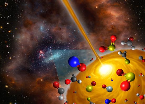 Representación artística del núcleo molecular caliente descubierto en Gran Nube de Magallanes. Créditos: FRIS/Universidad de Tohoku