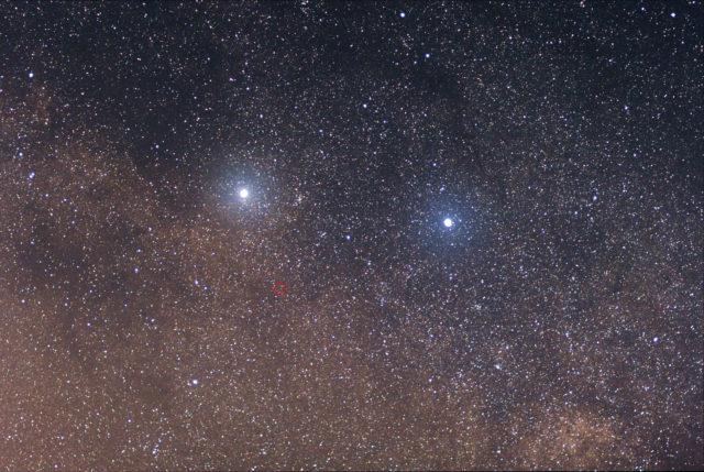 El circulo rojo en esta imágen es Próxima Centauri