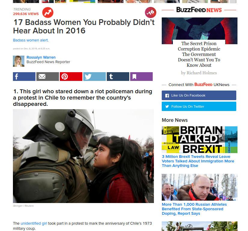 """Buzzfeed destaca a joven chilena de foto viral como una de las """"mujeres fuertes"""" de 2016"""