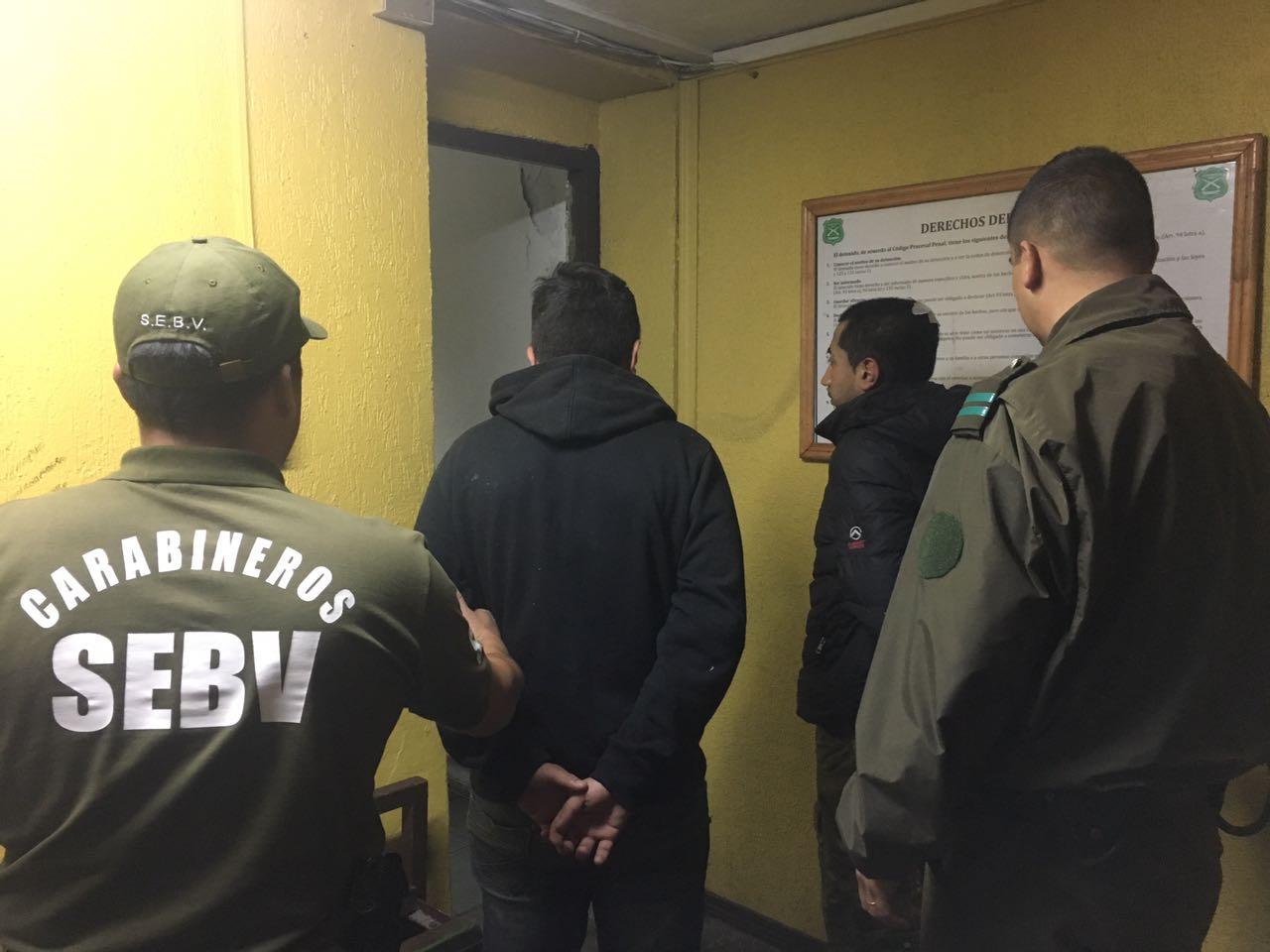 Sujetos detenidos por Carabineros