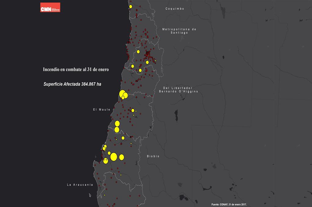 Hectáreas incineradas según zonas | monumentos.cl