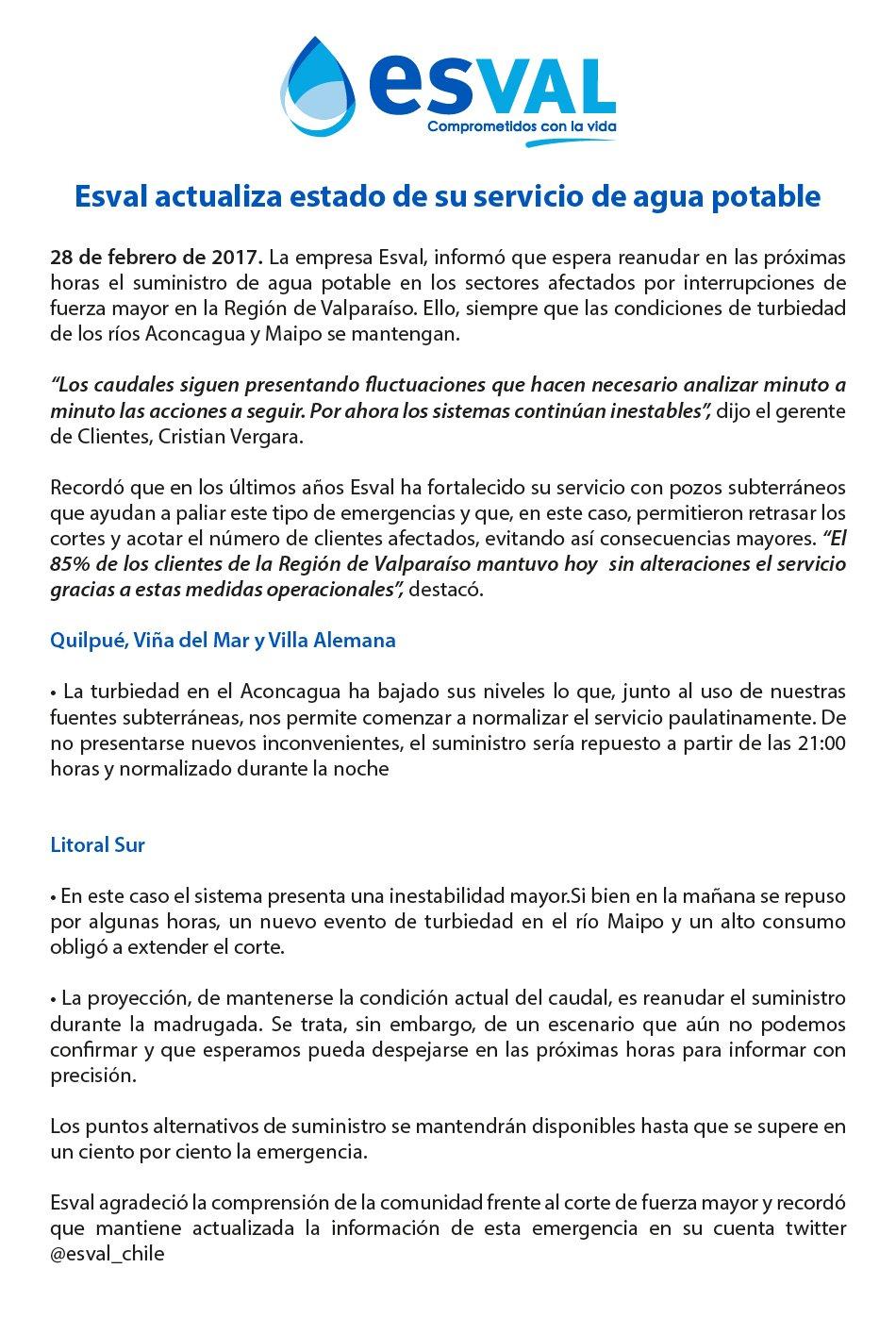 Esval repondrá servicio de agua en Valparaíso siempre que ríos ...