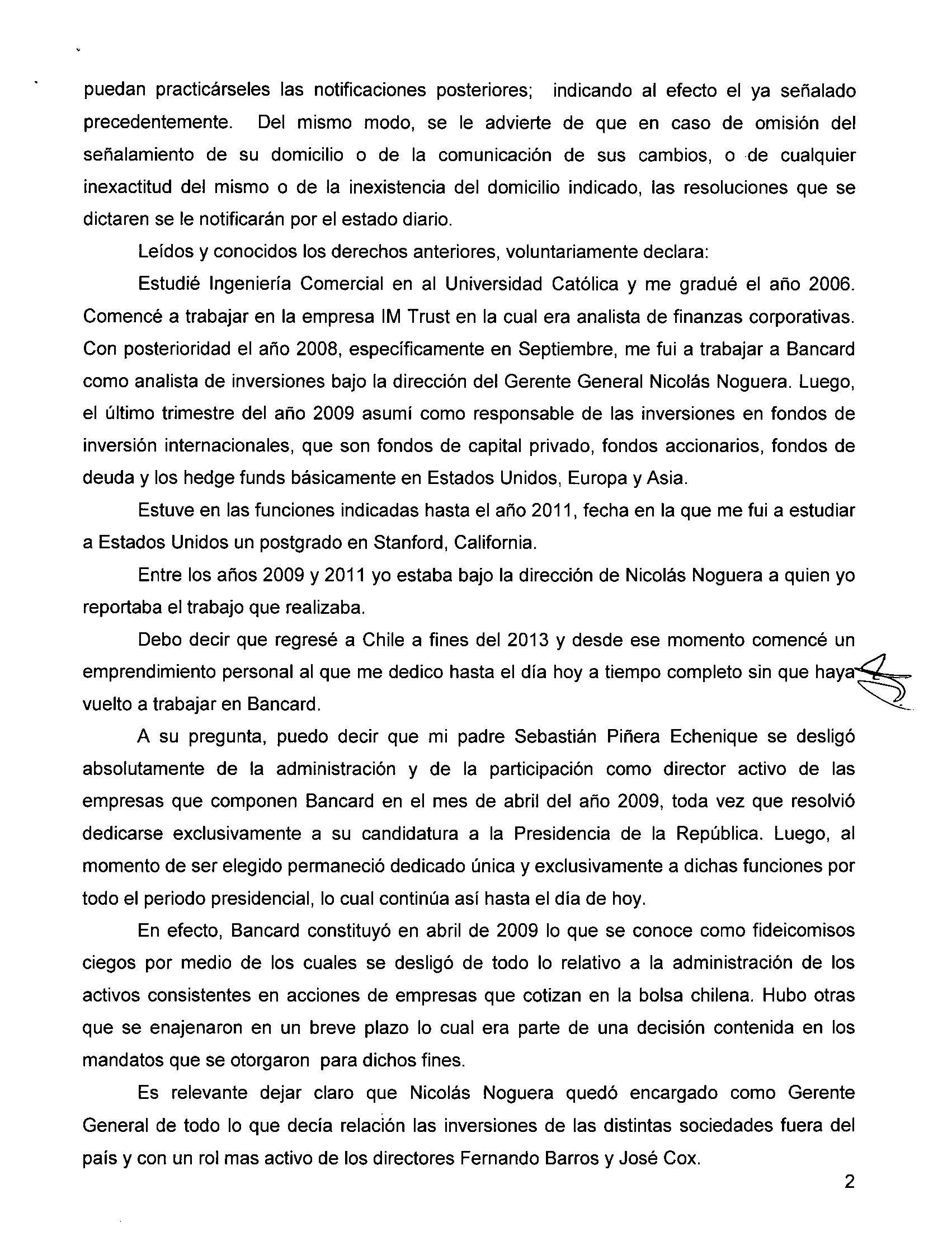 Declaración de Piñera Morel