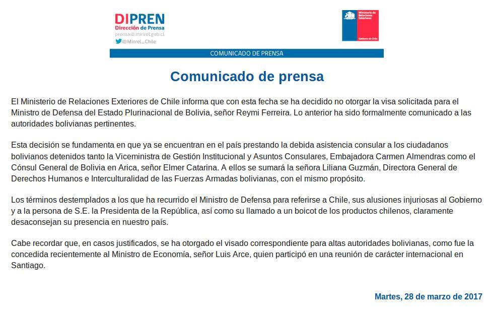 Canciller cierra la puerta a ministro de defensa boliviano for Ministerio de relaciones interiores espana