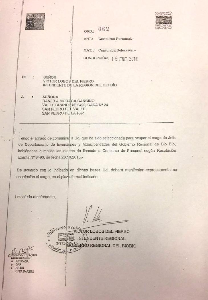 Documento de la denuncia efectuada por Contraloría