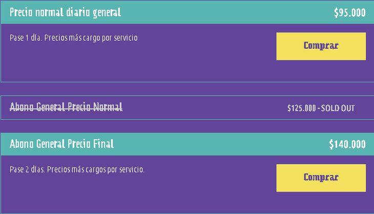 Las entradas que siguen vigentes para Lollapalooza Chile