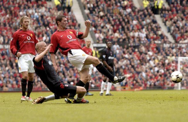 Keane y Beckham en el United / Archivo / AFP