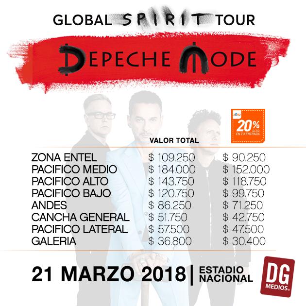 Precios de las entradas para ver a Depeche Mode   DG Medios
