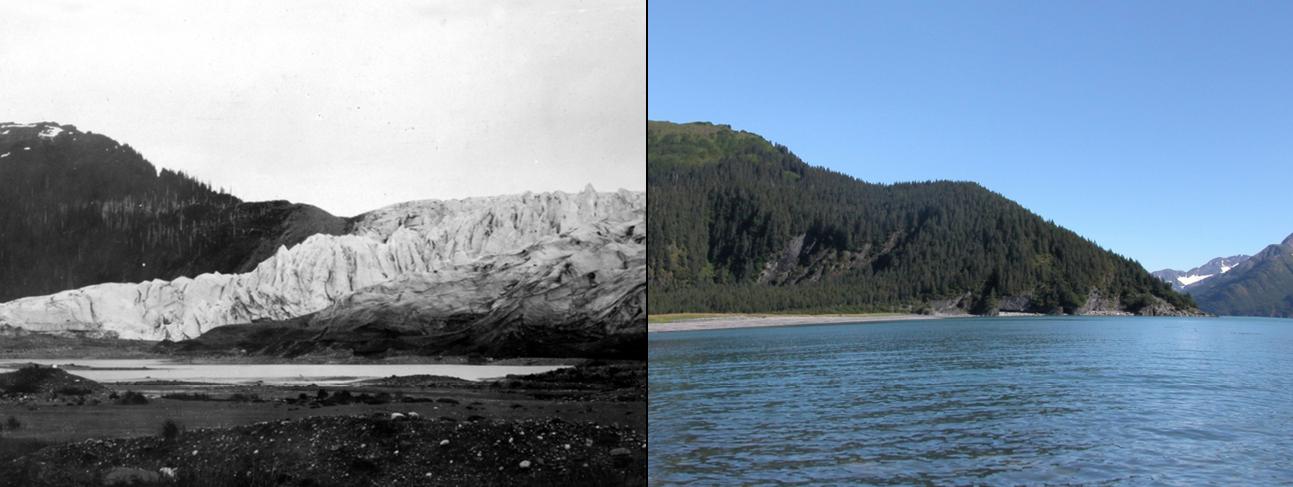 Derretimiento del Glaciar McCarty, Alaska, entre 1909 y 2004