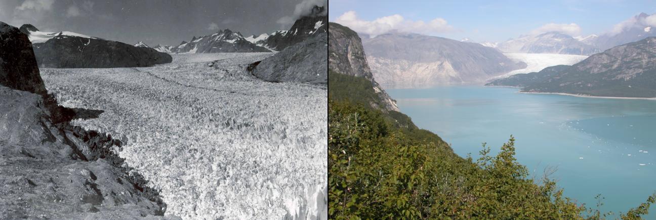Derretimiento del Glaciar Muir, Alaska, entre 1941 y 2004