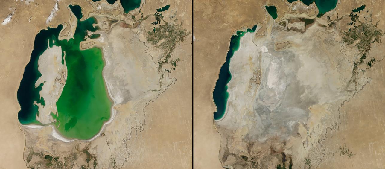 Mar de Aral, en Asia, entre 2010 y 2014
