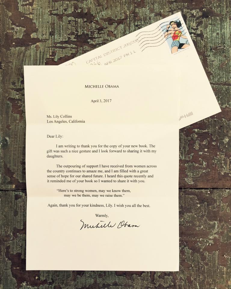 Carta de Michelle Obama a Lily Collins | Lily Collins en Facebook