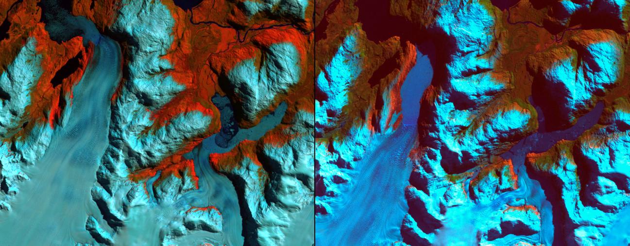 Glaciar en la Patagonia chilena, entre 1986 y 2002