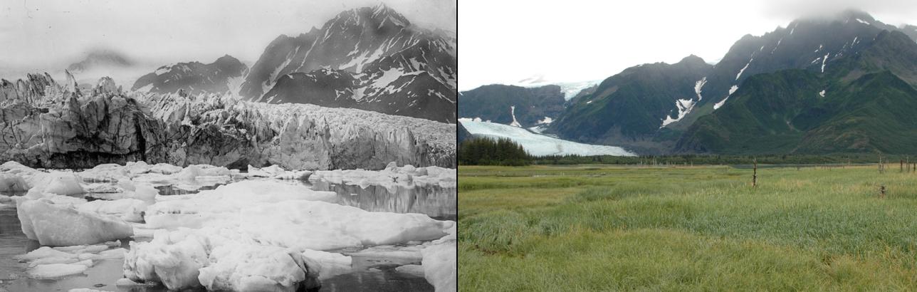 Derretimiento del Glaciar Pedersen, Alaska, entre 1920 y 2005