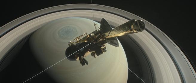 Imagen virtual de la nave Cassini sobrevolando Saturno (Nasa/JPL-Caltech)