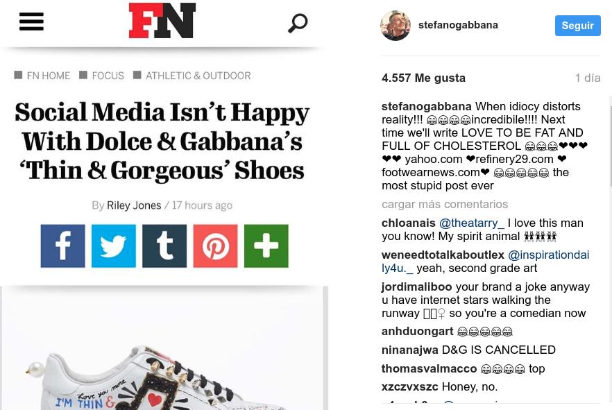 Respuesta críticas por zapatillas |@stefanogabbana en Instagram