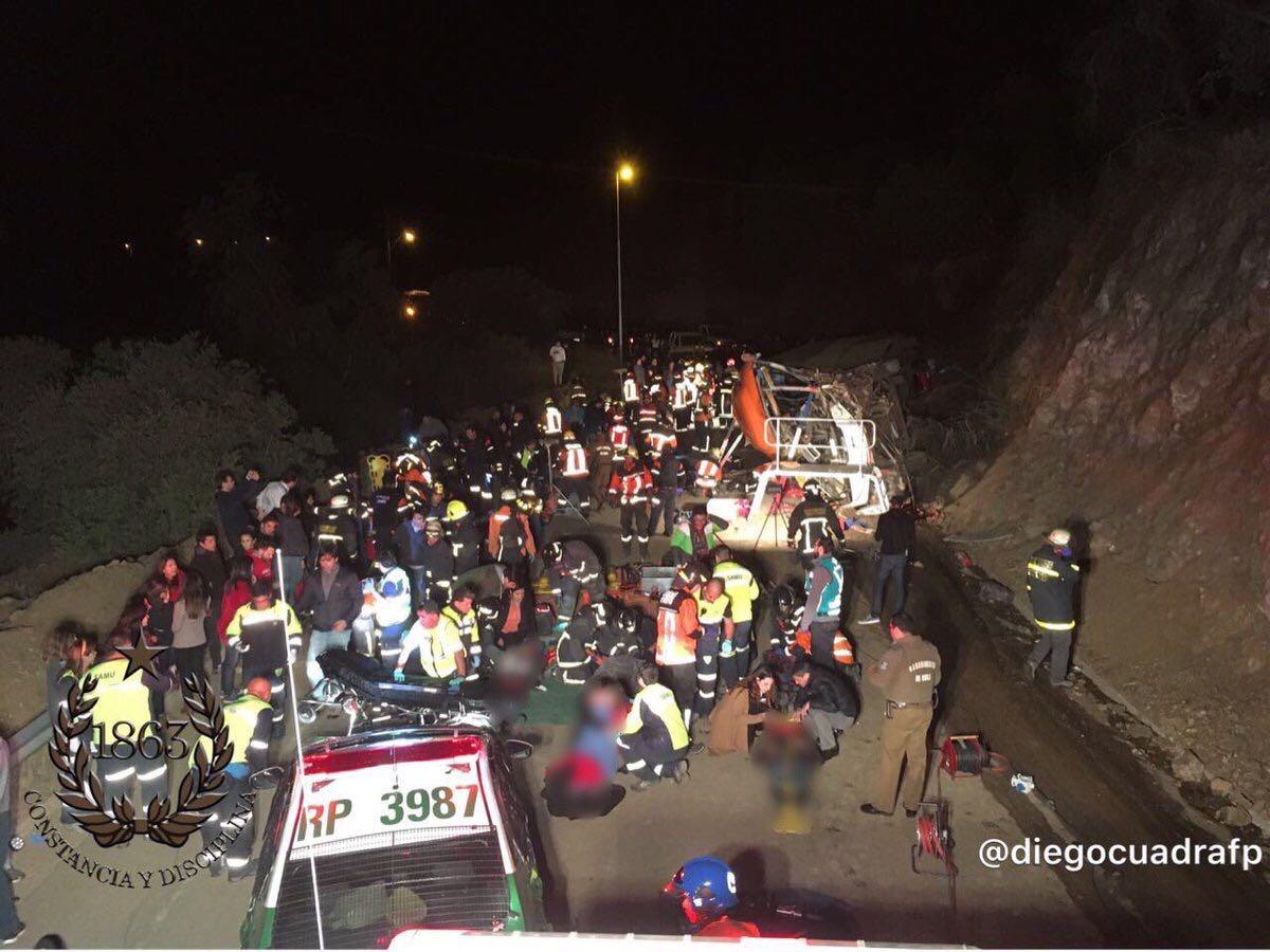Accidente deja un bus volcado y múltiples lesionados en Lo Barnechea