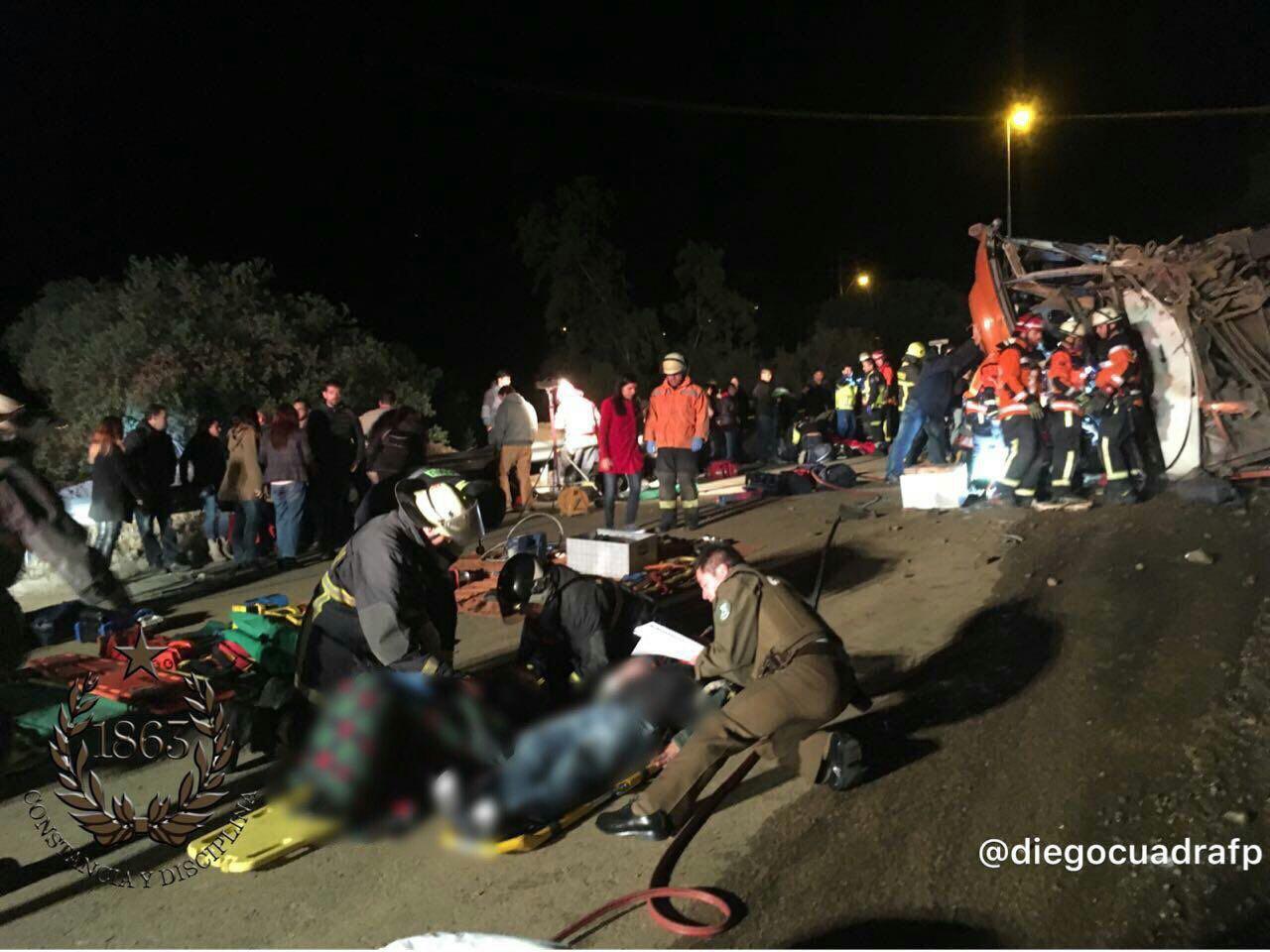 Volcamiento de bus deja al menos 22 lesionados en Lo Barnechea