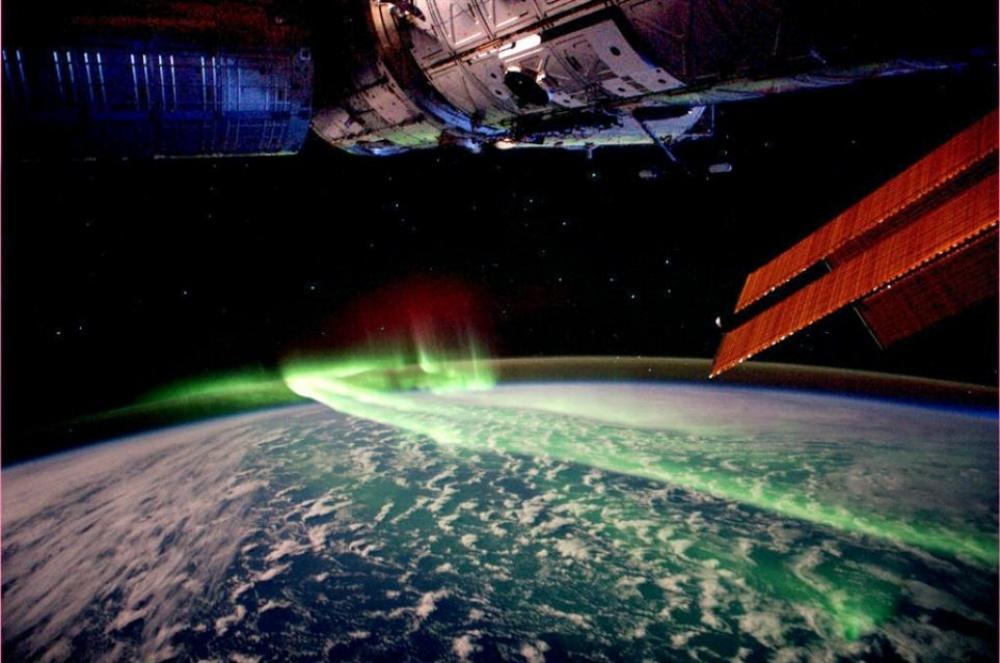 La aurora boreal vista desde el espacio.