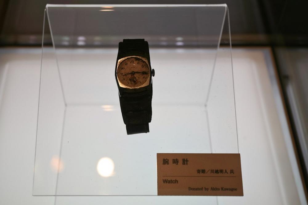 Un reloj perteneciente a Akito Kawagoe. Se detuvo a las 8:15 - el momento exacto en que la bomba atómica fue lanzada sobre Hiroshima en 1945.