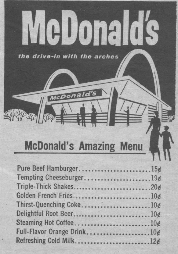 Menú original de McDonald's