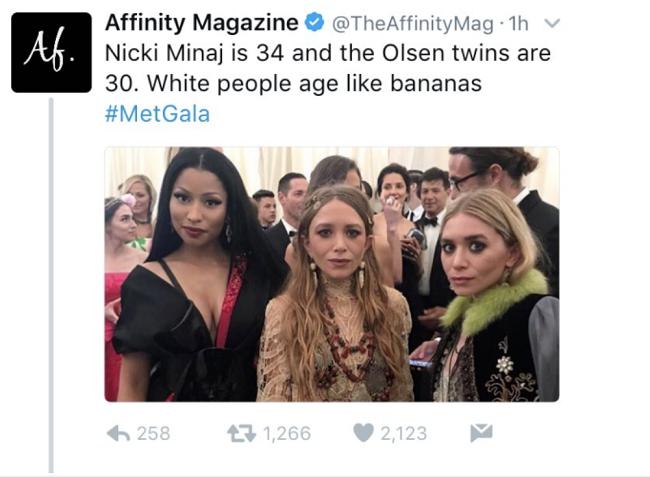 Tweet polémico de Affinity Magazine