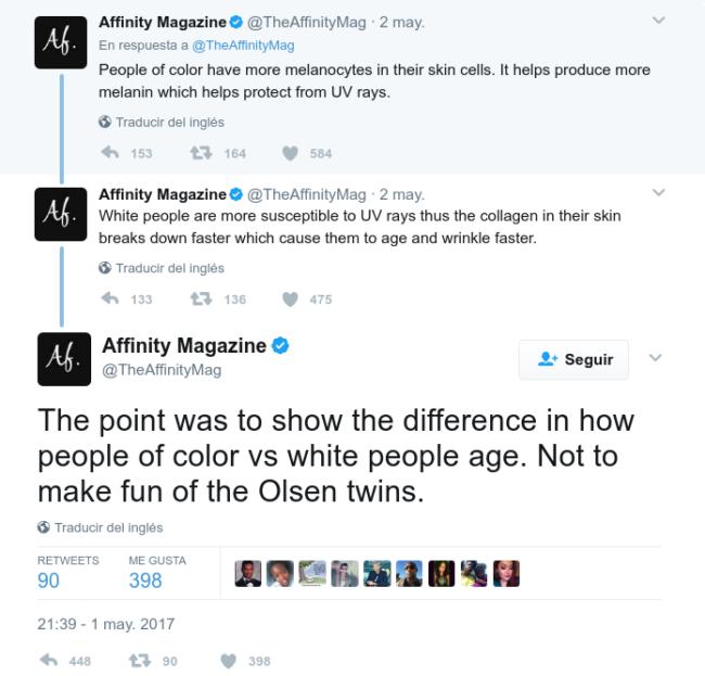 Otro tweet polémico de Affinity Magazine