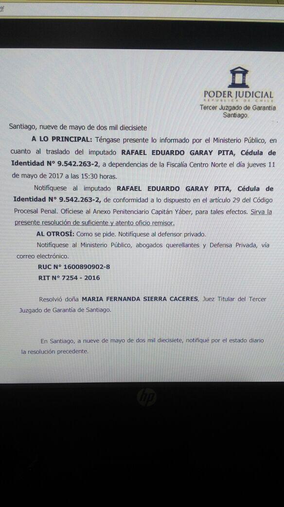 Solicitud de Traslado de Rafael Garay | Lorena Cruzat | RBB