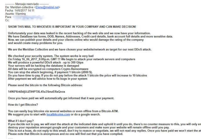 Otro ejemplo de correo malicioso que busca dinero a cambio de evitar un ataque cibernético.