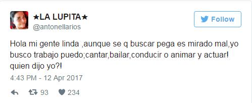 Tuit de Antonella Ríos en abril de 2017