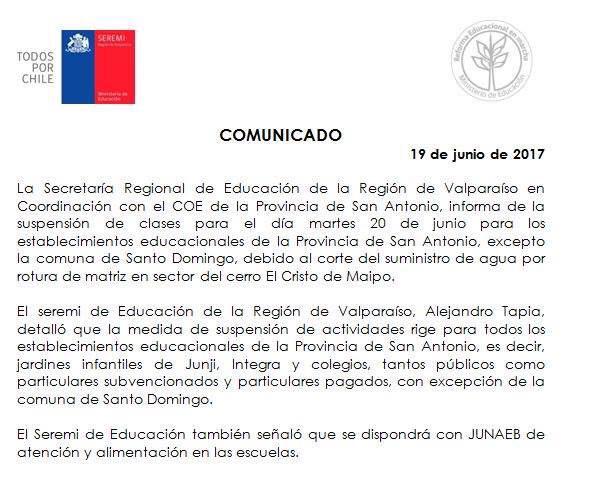Suspenden clases en provincia de San Antonio, excepto Santo Domingo por corte del suministro de agua potable