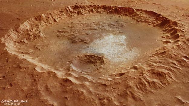 Cráter en Erythraeum Chaos en Marte