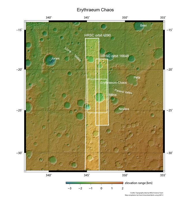Erythraeum Chaos y valles de los alrededores en Marte