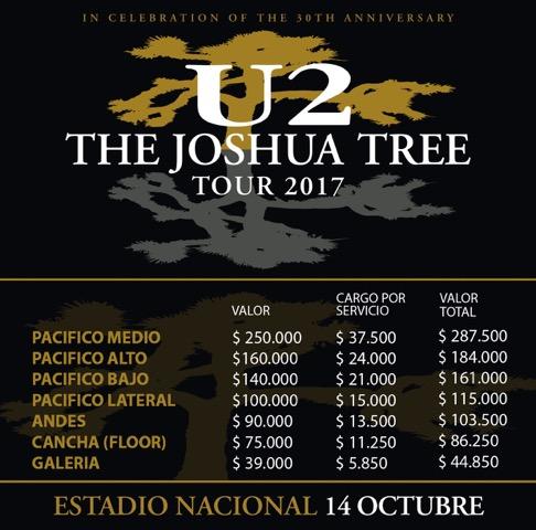 Las entradas para ver a U2 en Chile