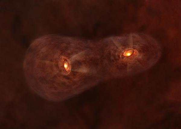 Representación artística del joven sistema estelar gemelo IRAS | ALMA (ESO/NAOJ/NRAO)