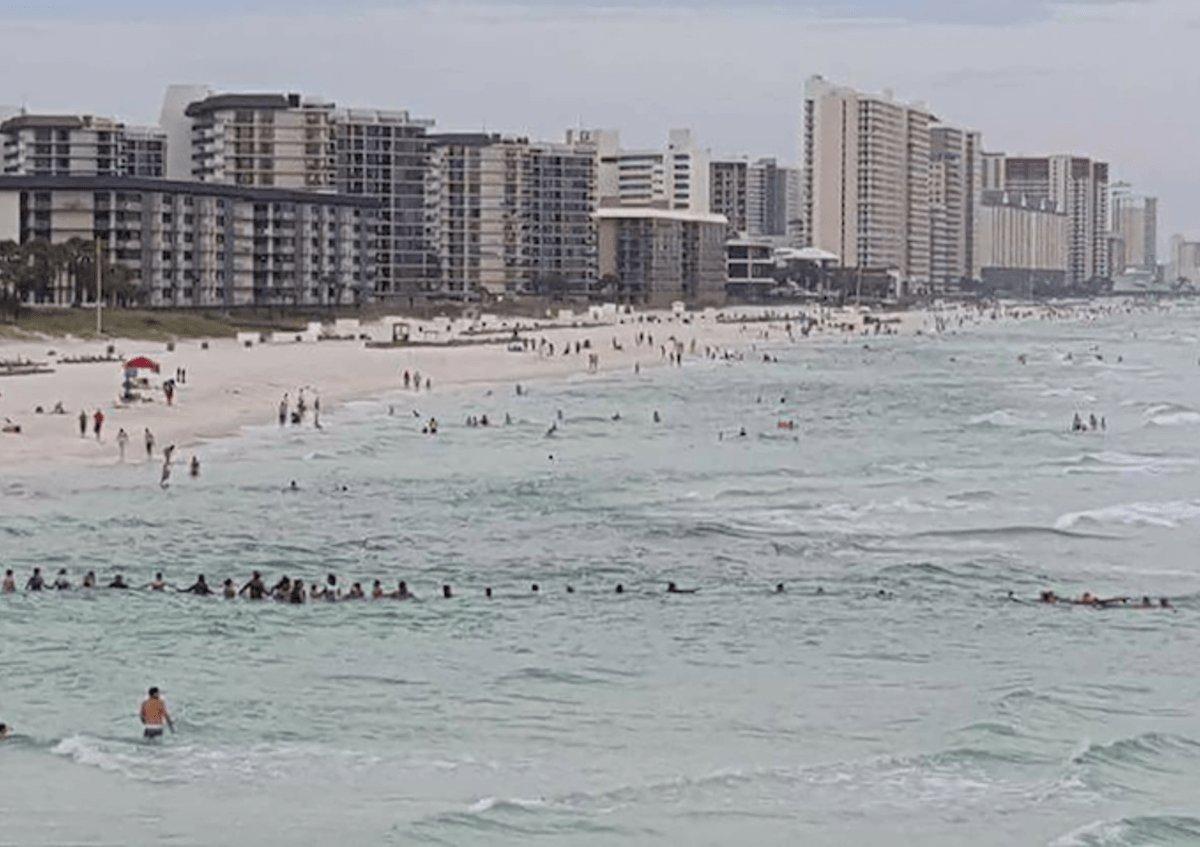 Cadena humana en playa de Florida   Facebook