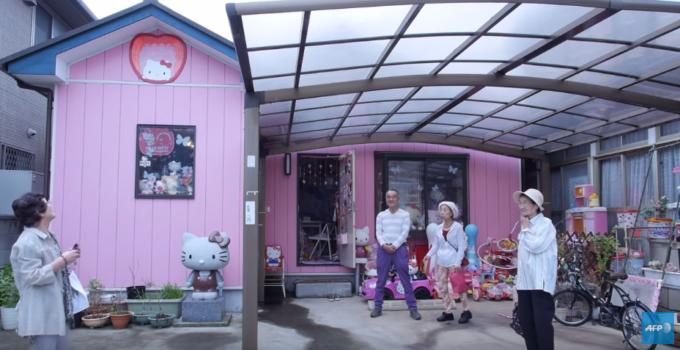 Fachada de la casa donde se albergan los más de 5 mil objetos de Hello Kitty - AFP | Youtube