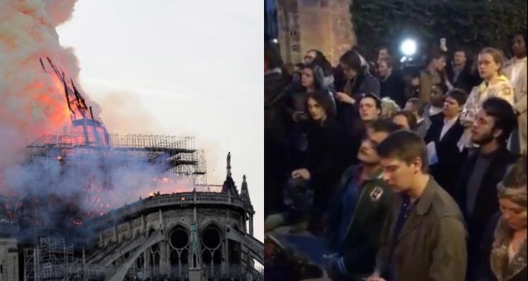 Video muestra a parisinos llorando y cantando frente a Notre Damme mientras ésta se incendia