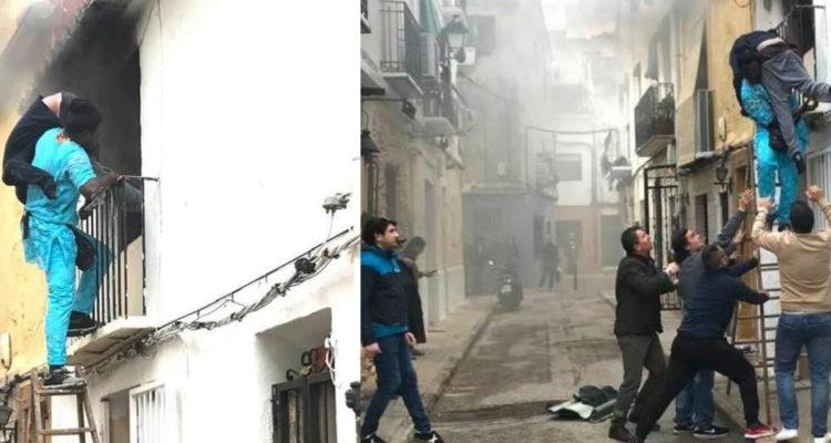 Migrante rescata de incendio a discapacitado en España y piden que le den la ciudadanía