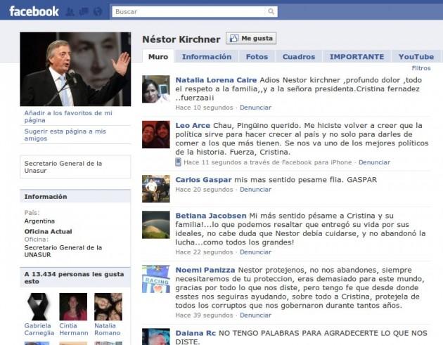 Más mensajes en Facebook de Kirchner