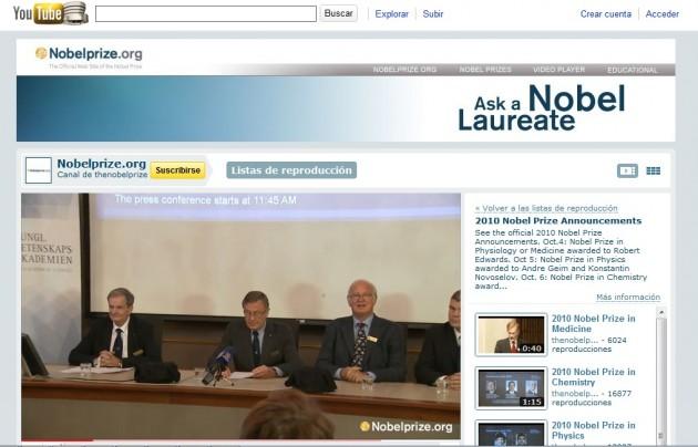 Pregunta a los Nobel en Youtube