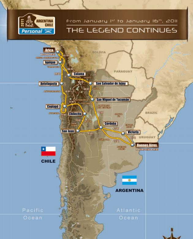Mapa: Dakar 2011